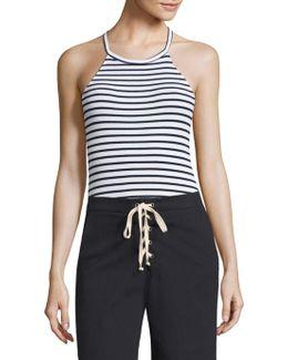 Striped Halter Bodysuit