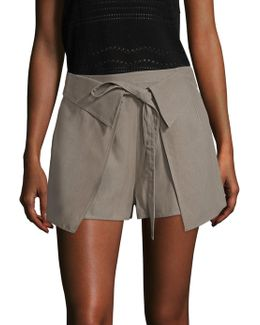 10 Crosby Twill Wrap-front Shorts
