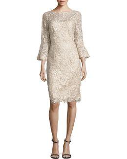 Bell Sleeve Lace Sheath Dress