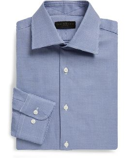 Regular-fit Houndstooth Dobby Cotton Dress Shirt