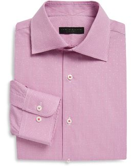Regular-fit Gingham Pickstitch Cotton Dress Shirt