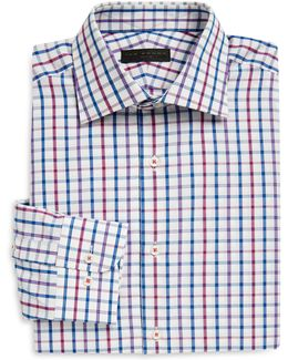 Multi-check Cotton Poplin Dress Shirt