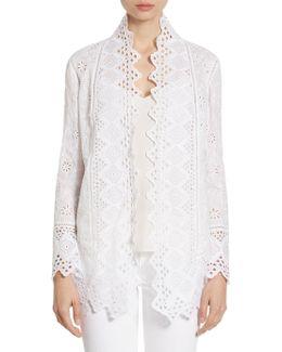 Eyelet Embroidered Cotton Jacket