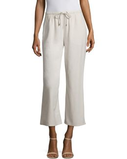 Silk Noil Wide-leg Cropped Pants