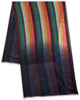 Vertical Striped Wool Scarf