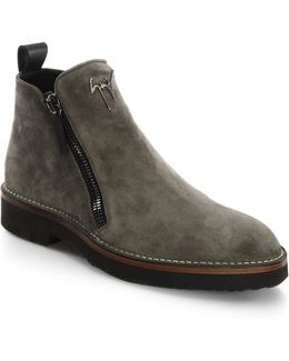Suede Double-zip Boots