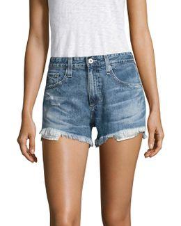 Sadie High-rise Frayed Denim Shorts