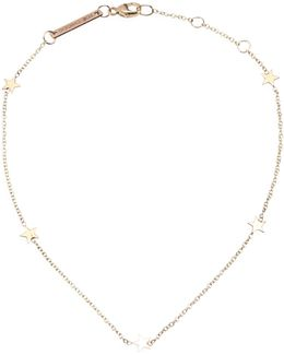 14k Yellow Gold 5 Itty Bitty Stars Anklet
