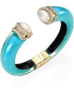 Medium Open Lucite & Faux Pearl Cuff