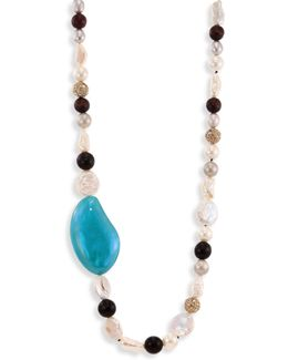 Opalescent Lucite Liquid Silk Strand Necklace/42