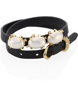Elements Convertible Leather & Crystal Wrap Bracelet/choker