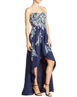 Floral Embellished Strapless Dress