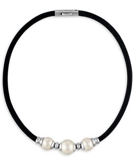 12-14mm White Baroque Pearl & Leather Necklace