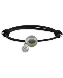 12mm Grey Pearl & Leather Bracelet