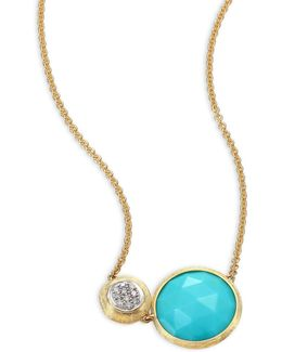 Jaipur Diamond, Turquoise & 18k Yellow Gold Pendant Necklace