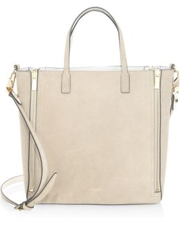 Piper Mini Zip Reversible Leather & Suede Tote