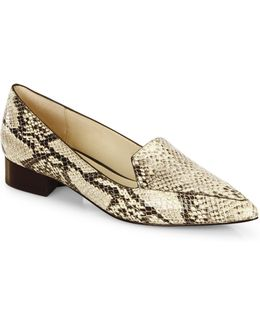 Dellora Snake-embossed Leather Skimmer Flats