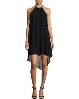 Tiered Chiffon Halter Dress
