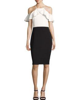 Colorblock Cold-shoulder Sheath Dress