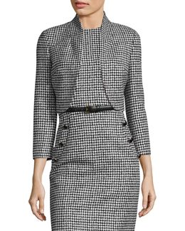 Wool Houndstooth Cropped Jacket