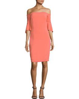 Off-the-shoulder Bell Sleeve Sheath Dress