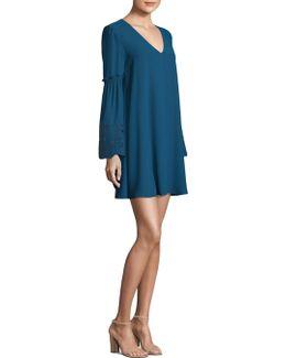 Sleeve Embroidery A-line Dress