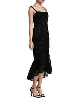 Flocked Velvet Hi-lo Dress