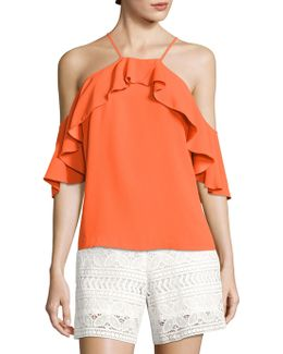 Olan 2 Ruffled Cold-shoulder Top