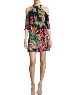 Spirit Cold-shoulder Silk Dress
