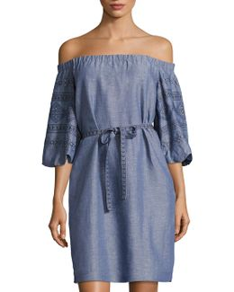 Embroidered Off-the-shoulder Chambray Dress