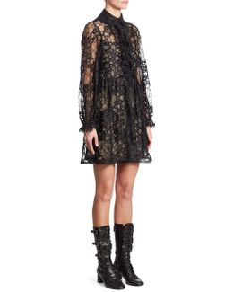 Ruffled Floral Lace Dress