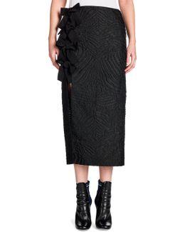 Bow-detail Cloque Midi Skirt
