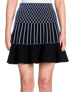 Knit Grid-detail Flounce Skirt