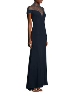 Beaded Crepe Gown