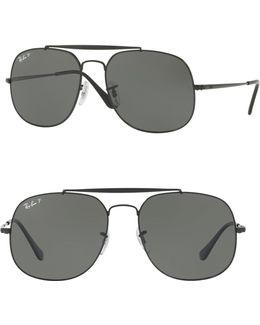 57mm Polarized Square Aviator Sunglasses