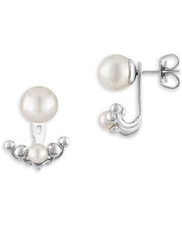 5/8mm White Pearl & Sterling Silver Ear Jackets