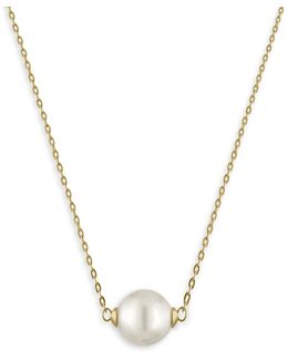 10mm White Pearl & Goldtone Stainless Steel Pendant Necklace