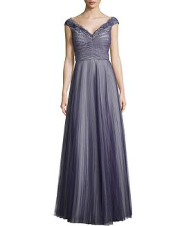 Pleated Tulle And Lace Gown