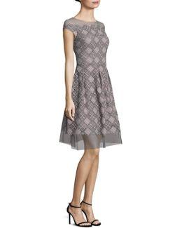 Illusion Metallic Lace Dress