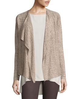 Draped Open-front Linen Cardigan