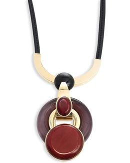 Leather Goldtone Pendant Necklace