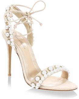 Reese Pearl-embellished Suede Ankle-tie Sandals