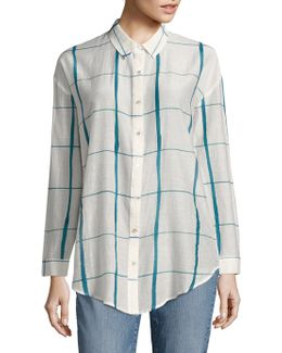 Windowpane Organic Cotton & Silk Shirt