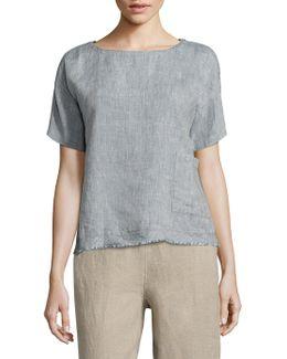 Raw-edge Organic Linen Top