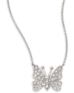 Small Butterfly Diamond & 18k White Gold Pendant Necklace