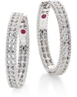 Symphony Diamond & 18k White Gold Hoop Earrings/0.75