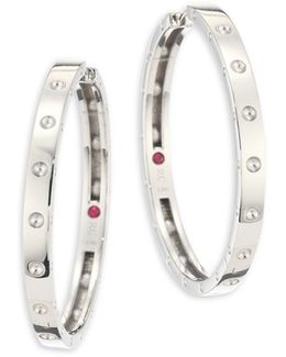 Symphony Pois Mois Large 18k White Gold Hoop Earrings/1.25