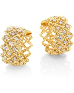 New Barocco Diamond & 18k Yellow Gold Hoop Earrings/