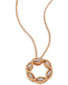 Barocco Diamond & 18k Rose Gold Pendant Necklace