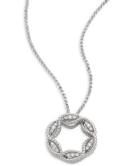 Barocco Diamond & 18k White Gold Pendant Necklace
